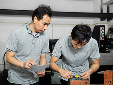 two worker checking dimension of